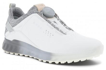 ecco Golf S-Three BOA Gore-Tex Golfschuh, white/silver grey