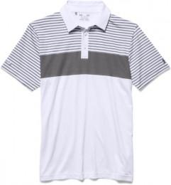 Under Armour Major Stripe Polo, White/Steel/Graphite