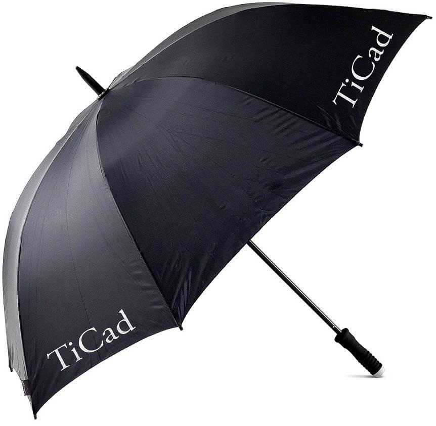 TiCad Golferschirm mit Stift und TiCad Logo