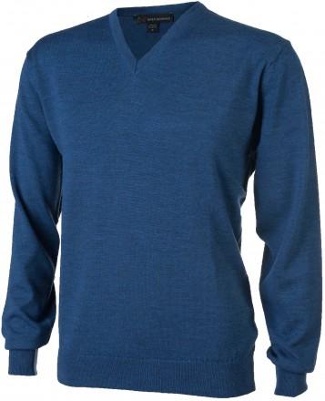 Greg Norman Merino V-Neck Pullover, jeans blue