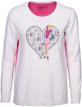 girls golf Round-Neck Sweater Ladies love, white