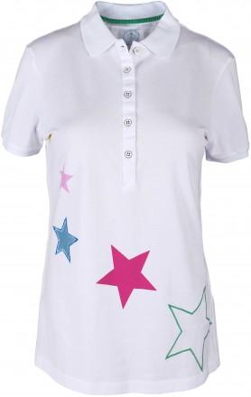 girls golf Multicolored Stars Polo, white