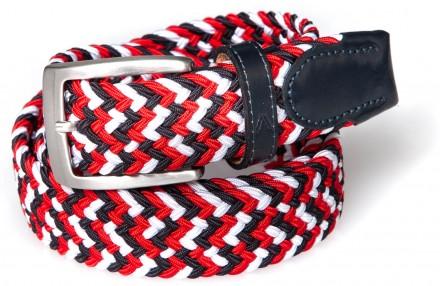 Alberto Gürtel Multicolor Braided, weiß/navy/rot