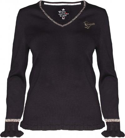 girls golf Ruffle Puffle Pullover, black