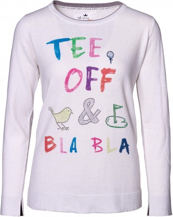 girls golf Tee Off & Blabla Knitted Sweater, white