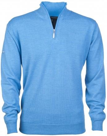 Greg Norman Windbreaker Lined 1/4 Zip Sweater, blue