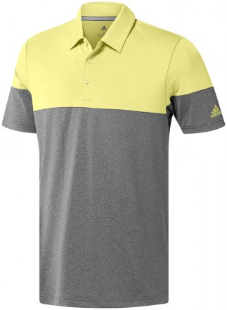 Adidas Ultimate365 Heather Blocked Polo, grey/yellow