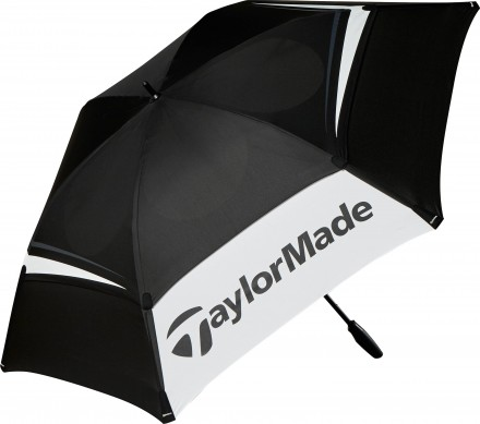TaylorMade Tour Double Canopy Umbrella, 68 inch, black/white/grey